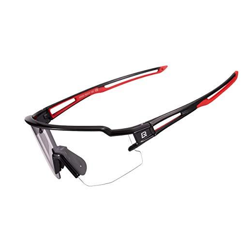 ROCKBROS Occhiali da Sole Ciclismo Sportivi PC Lenti Trasparenti Fotocromatiche UV400 Ultraleggero Unisex 3 Colori Disponibil (Nero/Rosso)