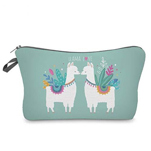Clyine Women's Cute Alpaca Pattern Cosmetic Bag Ladies Multifunctional Travel Storage Bag Handbag