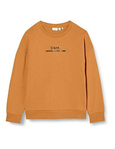 NAME IT Jungen NKMBASIM LS SWEAT UNB Sweatshirt, Braun (Bone Brown), 116