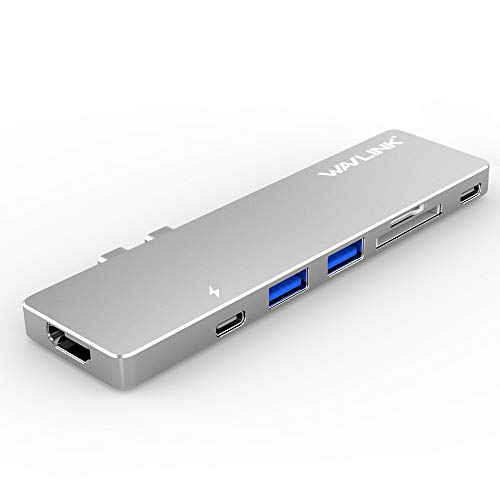 Thunderbolt 3 USB-C Mini Dock,Wavlink Type-C 7in1 Multi-Port Hub for MacBook Pro 2016/2017/2018/2019,Upper USB-C Port Support 4K@60Hz and 100W PD with 3USB 3.0 Ports and HDMI 4K@30Hz,SD/TF Card Reader