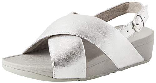 Fitflop Lulu Sandal-Leather, Bout Ouvert Femme, Argenté (Silver 011), 41 EU
