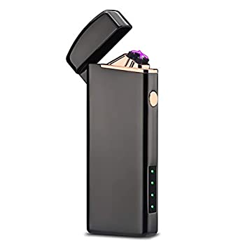 Windproof Arc Lighter X Plasma Lighters Rechargeable USB Lighter Electric Lighter for Candle-with LED Display Power  Black