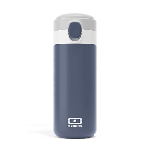 monbento - Botella termica - Botella agua acero inoxidable - Botella termo con infusor agua, cafe y te (Botella isotérmica con tapa deportiva, Azul Infinity)