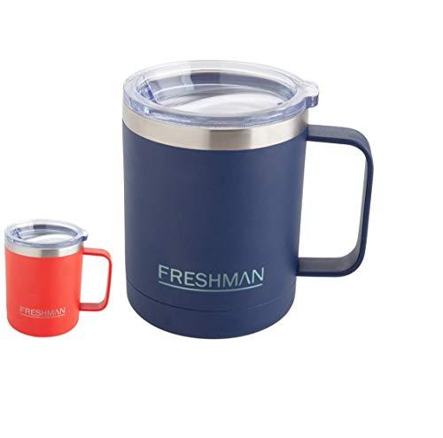 Freshman doppelwandiger Vakuum-Thermobecher 350 ml | Isolierbecher | Kaffeebecher to go aus 18/8-Edelstahl mit Deckel und Griff | Coffee to go Becher mit Henkel | Camping