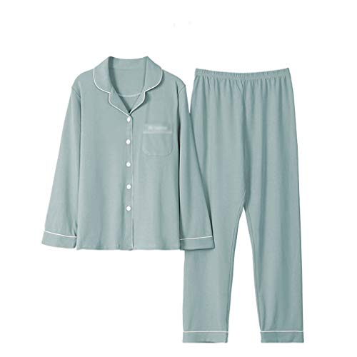 WALNUT Tallas Grandes Pijamas sólidos de algodón Set para Mujeres Invierno Manga Larga Ropa de Dormir Gruesa Traje de Ocio Mujer Cálido Homewear (Size : X-Large)