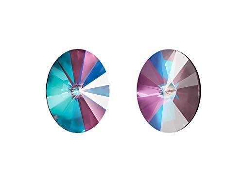 Bijoux Components Swarovski Fancy Stone, 4122 Rivoli Oval 14x10.5 mm, 1 Pieza, Cabujón de Vidrio en la Forma de un Cono Doble Ovalado, sin Agujero, Crystal/Burgundy Delite (Iridescent Purple Delight)