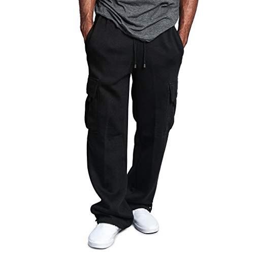 MINIKIMI Trainingshose Weites Bein Herren Jogginghose Baumwolle Lang Sporthose Baggy Fitness Chino Jogger Hose Sweathose Drawstring Freizeithose Multi-Pocket-Overall