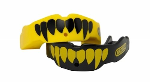 Battle Fangs Football Mouthguard – Sports Mouth Guard with Removable Strap – Protector Mouthpiece Fits With or Without Braces on Teeth – Adult & Youth Mouth Guard Sizes, 2 Pack, Adult (Age 10 & Up), Neon Yellow/Black
