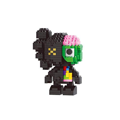 Hongai Mini KAWS figura de acción bloques de construcción juguetes de construcción, modelo diseccionado KAWS, 282 bloques de rompecabezas de construcción juguetes para niños amigos cumpleaños (negro)