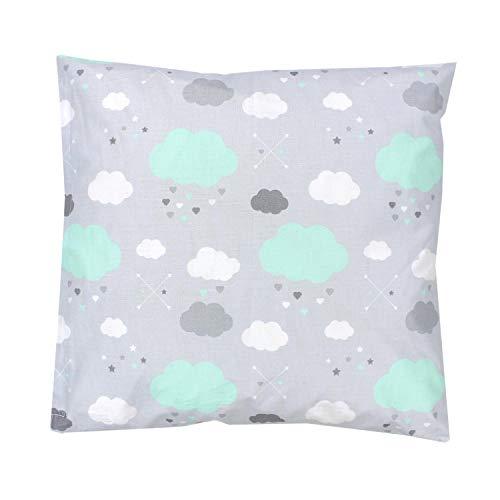 TupTam Kinder Kissenbezug Dekorativ Gemustert, Farbe: Wolken Mint, Größe: 40 x 40 cm