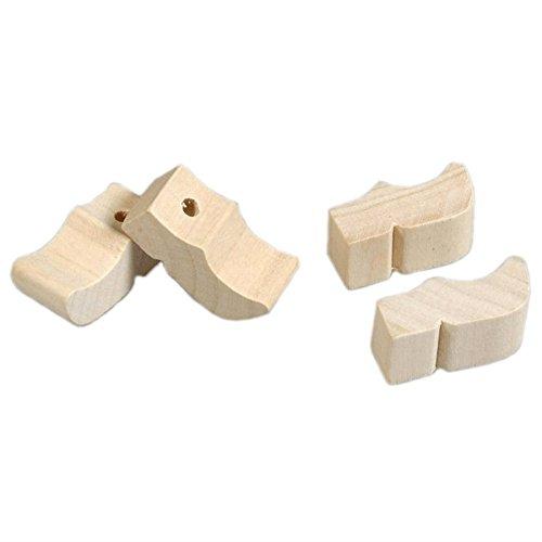 Mini Holzschuhe mit Loch, 28 mm 5 Paar (10 Stk) - Anhänger Holländische Clogs, Klompen zum Bemalen