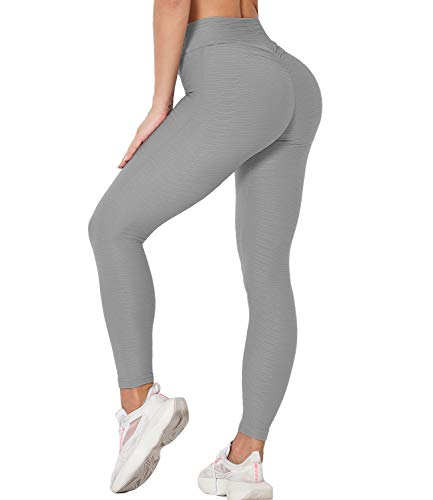 DUROFIT Mallas Pantalones Deportivos Leggings Mujer Malla Celular Pantalón de Yoga Leggings Push Up Mallas de Deporte de Mujer Gris S