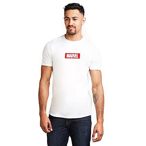 Marvel Box Logo Camiseta, Blanco (White...