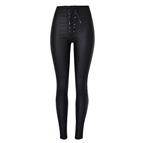 Andiwa Pantalones de piel sintética para mujer, con cintura alta, cintura alta, push up, elásticos, delgados, de poliuretano, sexy, para mujer