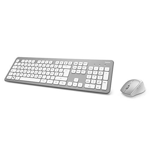 Hama Funk-Tastatur Maus Set (QWERTZ Tastenlayout, kabellose ergonomische Maus, 2,4GHz, USB-Empfänger) Windows Keyboard Funkmaus-Tastatur-Set, weiß silber
