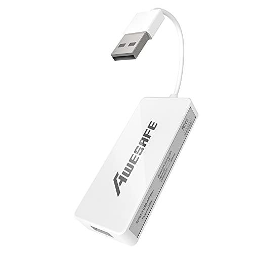 AWESAFE Carplay /Android Auto Dongle USB Cableado para Radio de Coche Android, Instale la aplicación Autokit en el automóvil, Compatible con Mirror Screen/iOS 13, Color Blanco