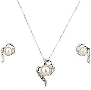 LORELYS - Parure di collana con ciondolo a forma di perla, madreperla bianca, incastonata con cristalli austriaci traspare...