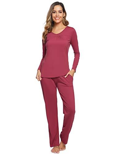 Abollria Pijamas Mujer Algodon Ropa de Domir Elegante Manga Pantalon Largos (L, Rojo Ladrillo_3#)