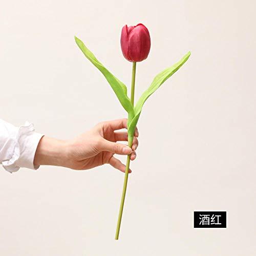Ymwenj Künstliche Blume Simulation Tulpe Runder Kopf Tulpe Simulation Blume Hauptdekoration Wohnzimmer Tisch Blume @ Weinrot
