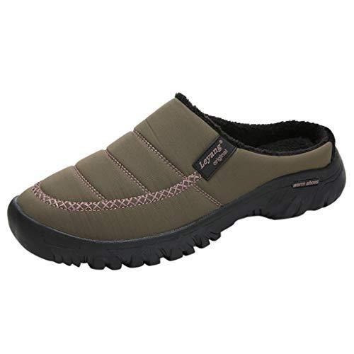 Zapatillas de Estar por casa de Fieltro para Mujer Negro Negro Zapatillas Unisex con Forro cálido Zapatos Impermeables para Interiores y Exteriores para jardín