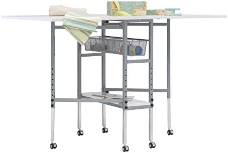 Offex Rolling Folding Height Adjustable Quilting Fabric Cutting Table with Sewing Board Grid product image