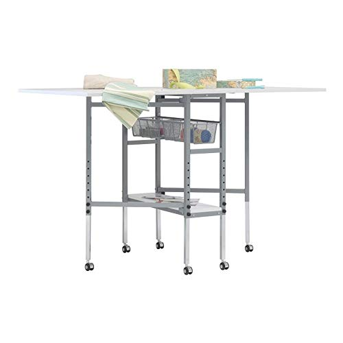 Offex Rolling Folding Height Adjustable Quilting Fabric Cutting Table with Sewing Board Grid and Guides Top, Storage in Silver/White Top