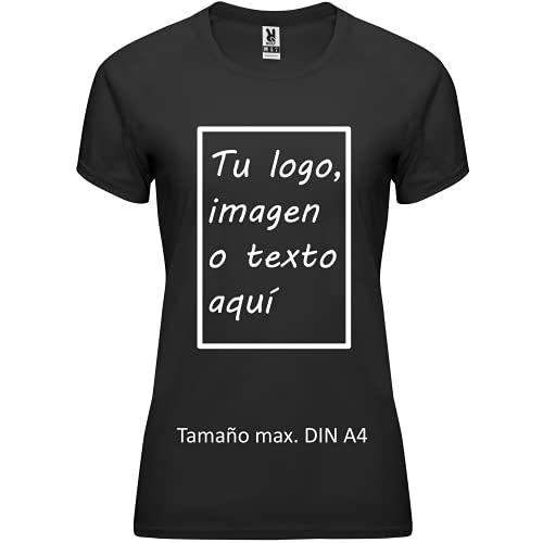 rainUP – Camiseta Técnica Personalizable – Camiseta Deportiva Running Mujer - Manga Corta – Impresión Directa (DTG) – Puedes añadir tu Frase, Logo o Imagen Personalizada (Negro)