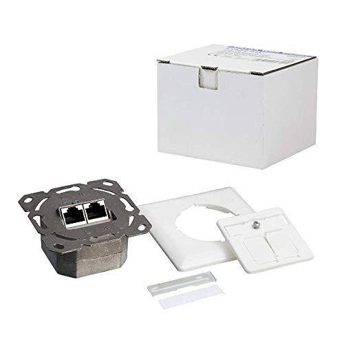 LogiLink Professional NP0123 RJ45 Cat.6A Anschlussdose (Unterputz) 2x RJ45 Stp (Vollgeschirmt) mit 40° Auslass