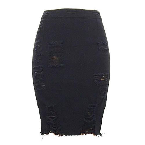 U/A Denim Falda De Las Mujeres De Verano De Cintura Alta Lápiz Vintage Destruido Sólido Azul Señoras Falda Corta