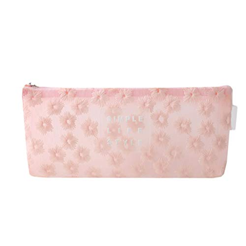 DWQ Bolsa de bolígrafo de Bordado Bolsa de Pluma de Flores Simple, Bolsa de Papel de Gran Capacidad con Cremallera For Girls Ladies (Color : Pink)