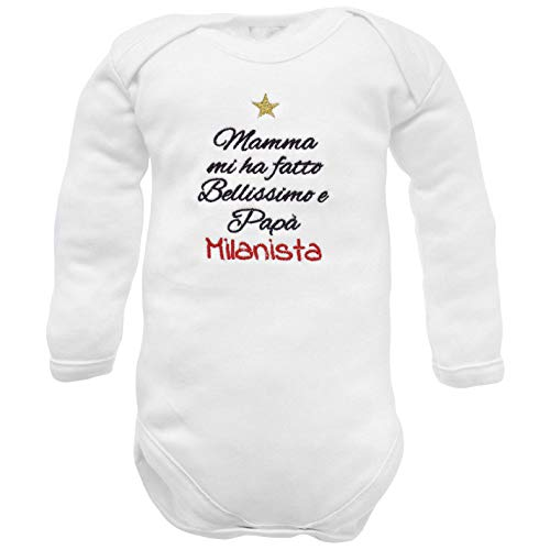 body de recién nacido con frase bordada para el nacimiento en italiano - fútbol - Mamà me hizo guapo y mi Papà Milan - manga larga de algodón - bebe milan niño 12-18 meses