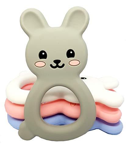 TARANTINI - Baby Beißring BUNNY Kühlend für Junge und Mädchen, BPA freier Silikon-Beissring in Hasen-Optik, Spielzeug zum zahnen. Babyspielzeug ab 0+ Monate