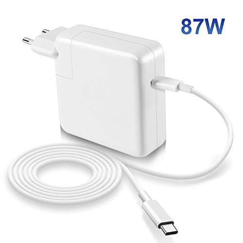 Compatible con Macbook Pro Air cargador 87W USB C de 13/15 pulgadas 2016 finales de 2017 2018, incluye cable E-Marker USB C (6.6ft/2m), cargador de reemplazo para otro dispositivo electrónico tipo C.