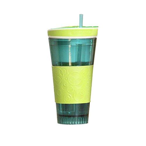 Snackeez! 2in1 Snack- und Trinkbecher Joghurt-Müsli-Becher Cup to go Snackbecher, Farbe:blau/grün