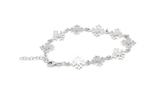 TALISMAN JEWELRY Occitan Cross Bracelet in Rhodium-plated 925 Sterling Silver, Venasque Cross, Provencal Symbology