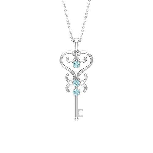 Rosec Jewels 10 quilates oro blanco redonda Blue Topacio azul - Cielo