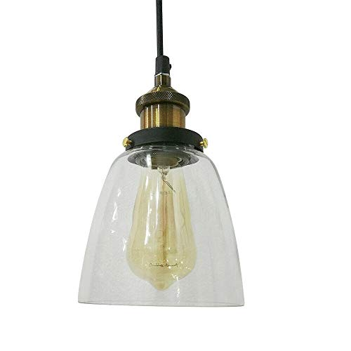 Doorzichtige glazen lampenkap HaroldDol hanglampen plafondlampen hanglamp lamp industrie vintage lampenkap decoratie (diameter 14 cm, hoogte 24 cm)