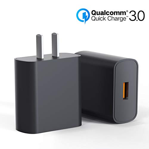 [2-Pack] Quick Charge 3.0 Wall Charger,18W QC 3.0 USB Wall Charger Adapter Fast Charging Block Compatible with Wireless Charger, iPhone 11 X 8 Samsung S10 S9 S8 Plus S7 S6 Edge Note 9, LG, Kindle