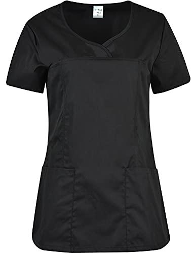 B-well Ines - Casaca de mujer para cuidado de mujer, manga corta, cuello en V, ropa de trabajo Negro S