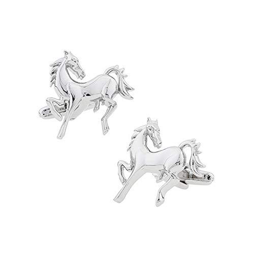 HSF Herren Manschettenknöpfe Plating White Steel Horse Shirt Anzug Manschettenknöpfe Manschettenknöpfe Manschettenknöpfe Tier Individuelle Manschettenknöpfe