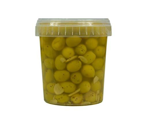 Hymor grüne Oliven mit Knoblauch - 2x 600g Behälter - Oliven aus Marokko Marokkanische Olive eingelegt in Lake vegan, glutenfrei, zu Tapas, Salaten, beim Kochen