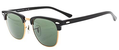 Ray-Ban Clubmaster - Gafas de sol para hombre, Multicolor (Marco: Negro/Gold, Vidrio: Verde Clásico W0365), 49 milímetros
