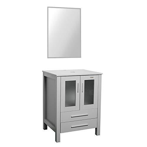 "U-Eway 24"" Bathroom Vanity Modern Pedestal Cabinet Set with 2 Drawers Wood MDF 20-inch Deep, Modern Free Stand Cabinet with Mirror Grey"