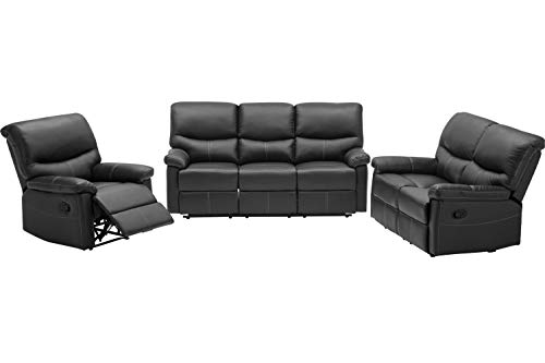 FDW Recliner Sofa PU Leather Set 3 PCS Motion Sofa Loveseat Recliner Sofa Recliner Couch Manual Reclining Chair 3 Seater for...