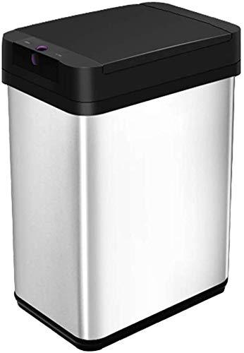 JLDN 9L / 2Gallon Inteligente Cubo de Basura Automático, Cubo De Reciclaje con Tapa Sensor de Movimiento Cubo de Basura Aislar el Olor Papelera Cierre Suave,Black