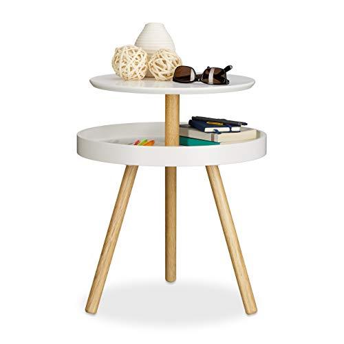 Relaxdays Table d'appoint ronde avec surface rangement en bois 3 pieds canapé console HxlxP: 55 x 47 x 47 cm, blanc