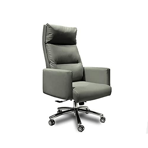 SWTOM Bürostuhl Computer Hohe Rückenlehne Verstellbarer Ergonomischer Schreibtischstuhl Drehbarer Drehstuhl aus PU-Leder mit Armlehnen Lordosenstütze