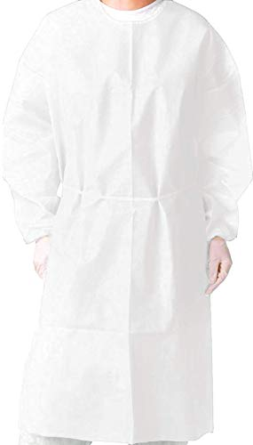 (Pack of 10) Isolation Gown with Elastic Cuff -Disposable...