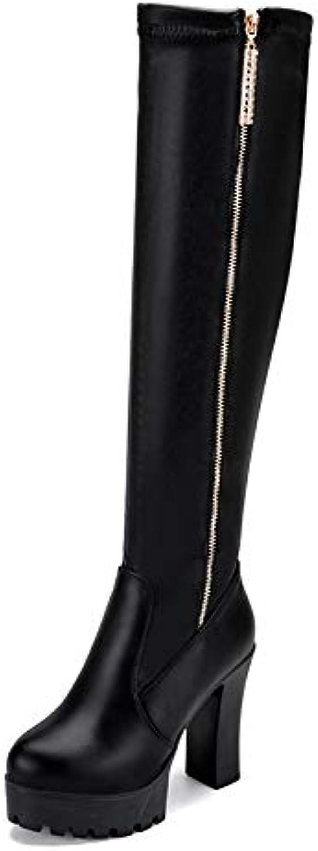 Shukun Stiefeletten Herbst und Winter super hohe Ferse Dicke über dem Knie Frauen Stiefel seitlichem reiverschluss Stretch Stiefel Lange rhre weibliche hohe Stiefel