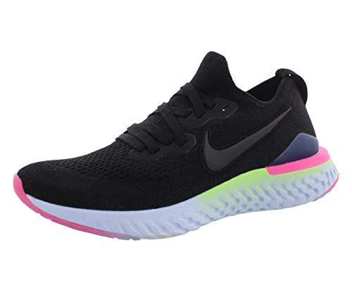 Nike Women's Epic React Flyknit 2 Running Shoes, Schwarz (Black/Black-Sapphire-Lime Blas 003), 4 UK